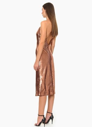 NetWork Askılı Abiye Elbise Bronz